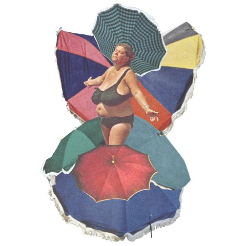 A woman emerges from beach umbrellas which are arranged as bird or butterfly wings.
