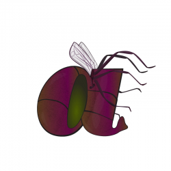 A large purple insect forms the letter A in Adorbs