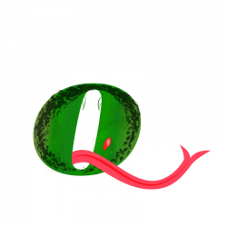 The wide mouth of a scaly green fork-tongued monster forms the letter O in Adorbs