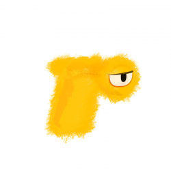 A furry yellow one-eyed creature forms the letter R in Adorbs