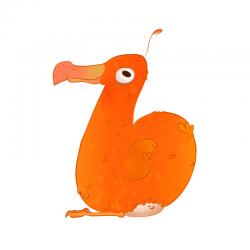 An orange dodo bird forms the letter B in Adorbs