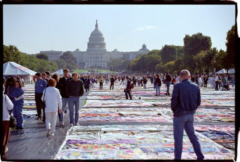 AIDS Memorial Quilt, 1996 [On the Mall #14]. Brent Pruitt. 35mm photograph, 1996