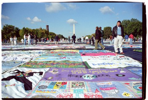 AIDS Memorial Quilt, 1996 [On the Mall #17]. Brent Pruitt. 35mm photograph, 1996