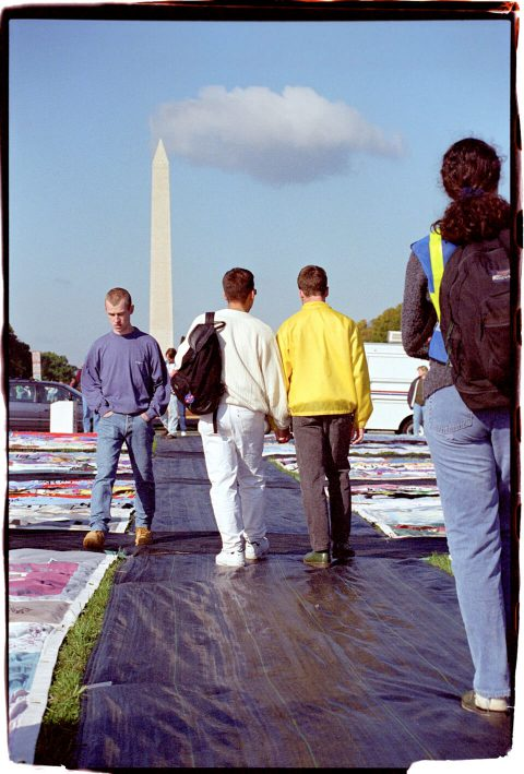 AIDS Memorial Quilt, 1996 [On the Mall #18]. Brent Pruitt. 35mm photograph, 1996