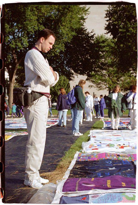 AIDS Memorial Quilt, 1996 [On the Mall #25]. Brent Pruitt, 35mm photograph, 1996.