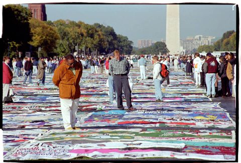 AIDS Memorial Quilt, 1996 [On the Mall #27]. Brent Pruitt. 35mm photograph, 1996