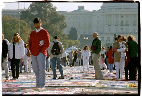 AIDS Memorial Quilt, 1996 [On the Mall #28]. Brent Pruitt. 35mm photograph, 1996