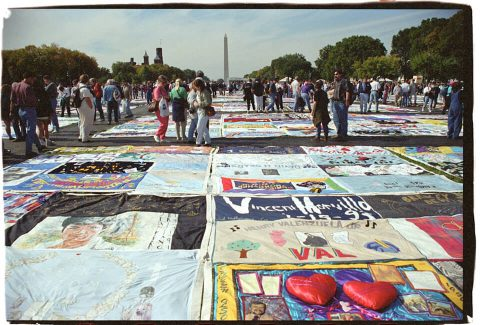 AIDS Memorial Quilt, 1996 [On the Mall #40]. Brent Pruitt. 35mm photograph, 1996