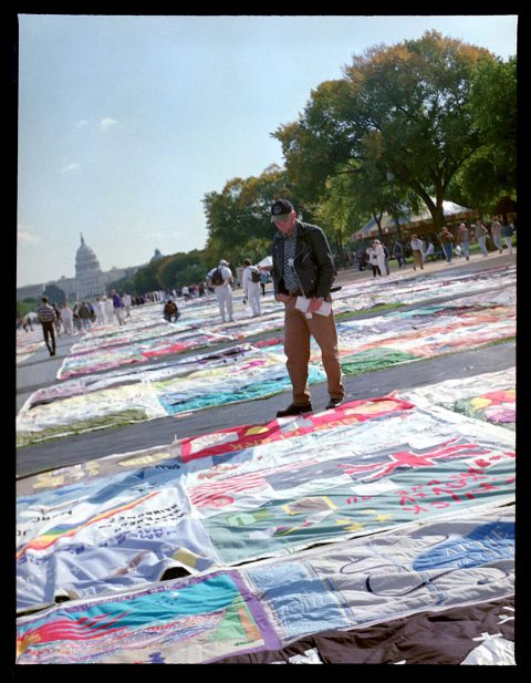 AIDS Memorial Quilt, 1996 [On the Mall #41]. Brent Pruitt. 220mm photograph, 1996