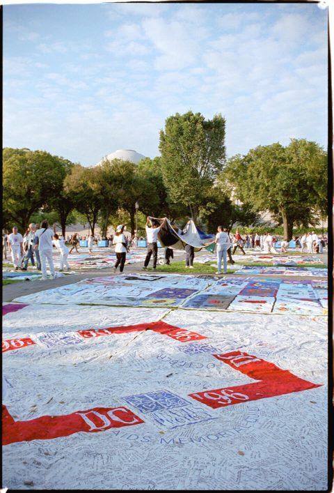 AIDS Memorial Quilt, 1996 [Setup #02]. Brent Pruitt. 35mm photograph, 1996