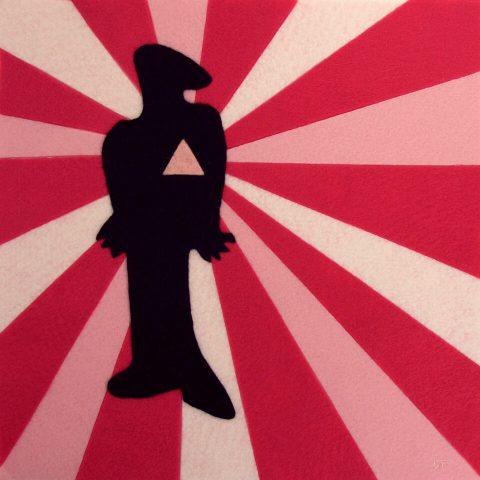 """Commie Pinko Fag: Liberté. Brent Pruitt, felt assemblage, 12"""" x 12"""", 2009"""