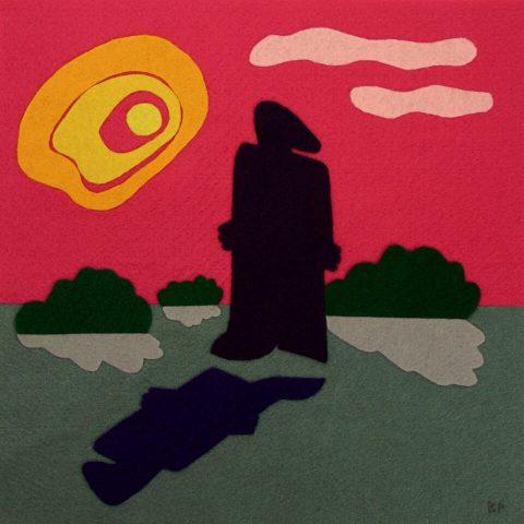 "Disconnected. Brent Pruitt, felt assemblage, 12"" x 12"", 2009"