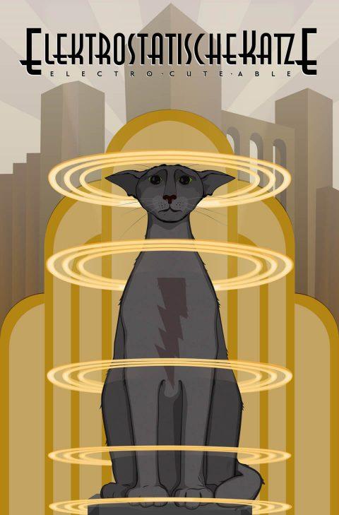 Elektrostatische Katze [Staticat]. Brent Pruitt, illustration, 2016