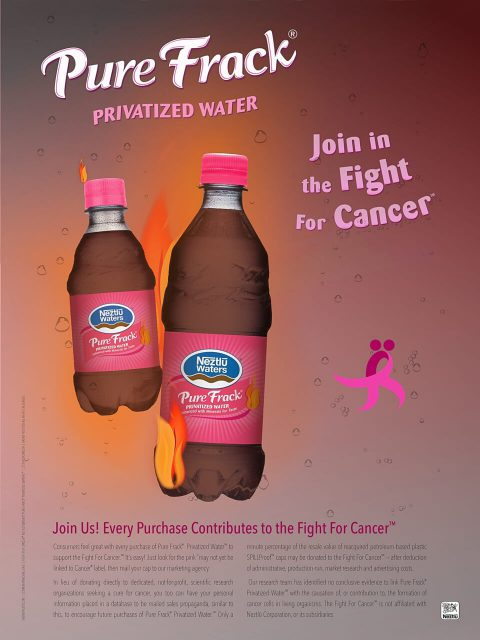 Neztlū Waters® Pure Frack™ For Cancer. Brent Pruitt, illustration, 2016