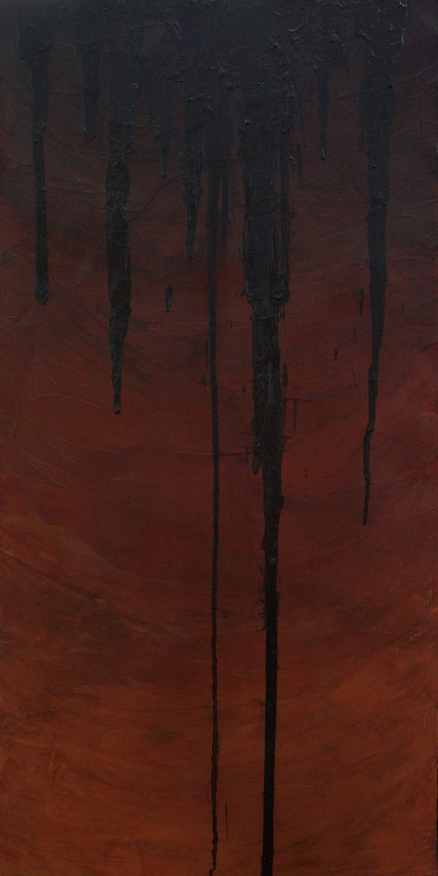 "Martha Coats Chocolate Confectionaries with Cocoa and Cream. Brent Pruitt, oil on canvas, 24"" x 48"", 2011"