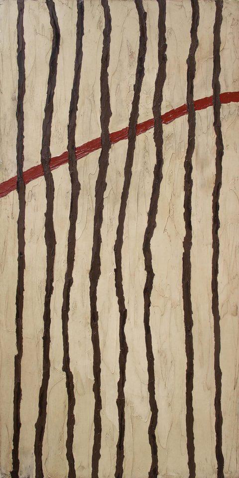 "Martha Deftly Wraps Twine Around a Bundle of Twigs. Brent Pruitt, oil on canvas, 24"" x 48"", 2011"