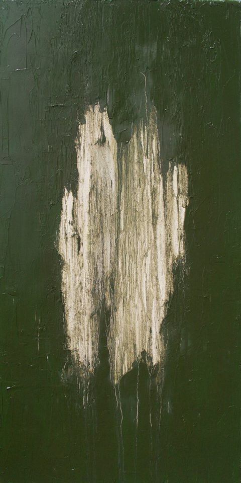 """Martha Distresses and Faux Finishes Period Antique; or Martha Does Not Watch Leigh and Leslie Keno on Antiques Roadshow. Brent Pruitt, oil on canvas, 24"""" x 48"""", 2011"""