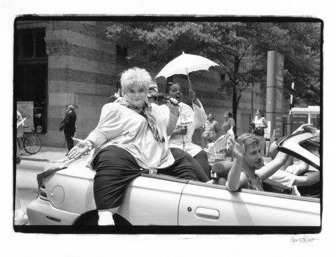 Morticia Deville, Atlanta Pride 1994. Brent Pruitt, 35mm b/w photograph, 1994