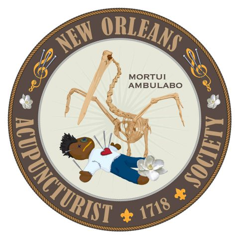 Mortui Ambulabo [New Orleans Acupuncturist Society]. Brent Pruitt, illustration, 2015