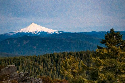 Mount Hood, view from Larch Mountain, Oregon [Painterly Edition]. Brent Pruitt, digital photograph, 2014