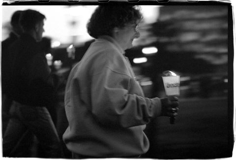 National AIDS Candlelight Vigil and March [#71]. Brent Pruitt. 35mm b/w photograph, 1996