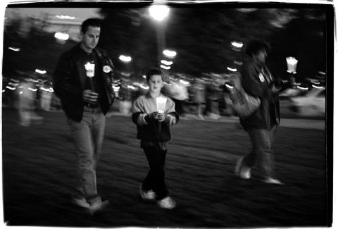 National AIDS Candlelight Vigil and March [#74]. Brent Pruitt. 35mm b/w photograph, 1996