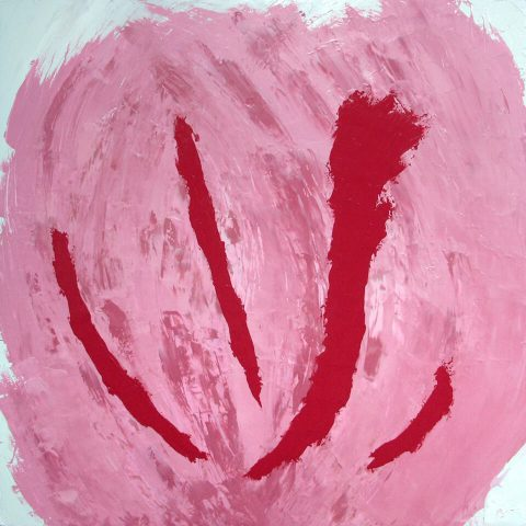 "Pink Boy. Brent Pruitt. oil on canvas, 48"" x 48"", 2010"