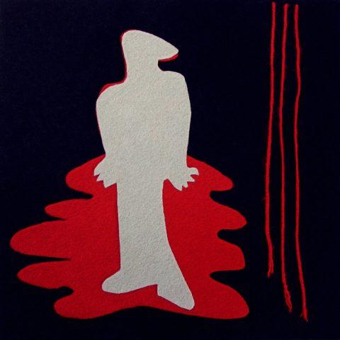 "Please Stop [b/c I Am Dying]. Brent Pruitt, felt assemblage, 12"" x 12"", 2009"
