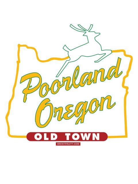 Poorland Oregon [White Stag]. Brent Pruitt, illustration, 2010