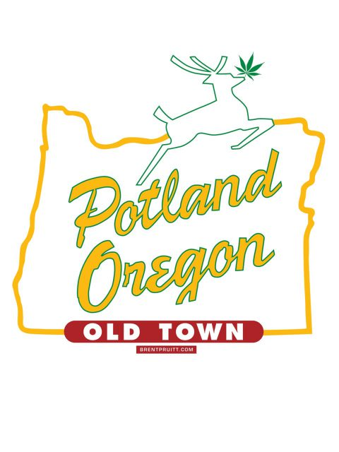 Potland Oregon [White Stag]. Brent Pruitt, illustration, 2010
