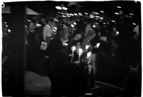 Procession of Light [National AIDS Candlelight Vigil and March #76]. Brent Pruitt. 35mm b/w photograph, 1996