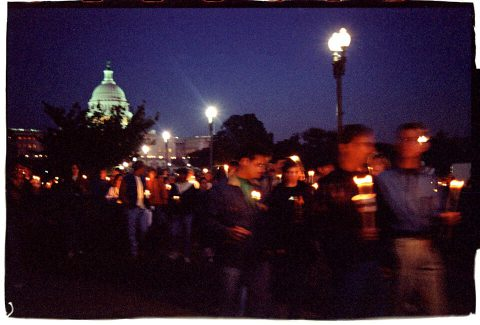 Procession of Light [National AIDS Candlelight Vigil and March #77]. Brent Pruitt. 35mm photograph, 1996.