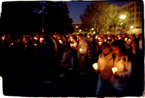 Procession of Light [National AIDS Candlelight Vigil and March #78]. Brent Pruitt. 35mm photograph, 1996