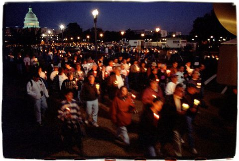 Procession of Light [National AIDS Candlelight Vigil and March #79]. Brent Pruitt. 35mm photograph, 1996