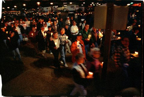 Procession of Light [National AIDS Candlelight Vigil and March #80]. Brent Pruitt. 35mm photograph, 1996