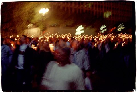 Procession of Light [National AIDS Candlelight Vigil and March #83]. Brent Pruitt. 35mm photograph, 1996