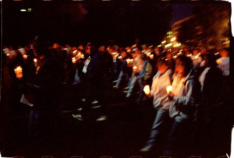 Procession of Light [National AIDS Candlelight Vigil and March #84]. Brent Pruitt. 35mm photograph, 1996