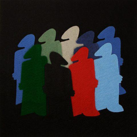 """Tenuous Connections. Brent Pruitt, felt assemblage, 12"""" x 12"""", 2009"""