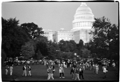 The Procession Begins [National AIDS Candlelight Vigil and March #69]. Brent Pruitt. 35mm b/w photograph, 1996
