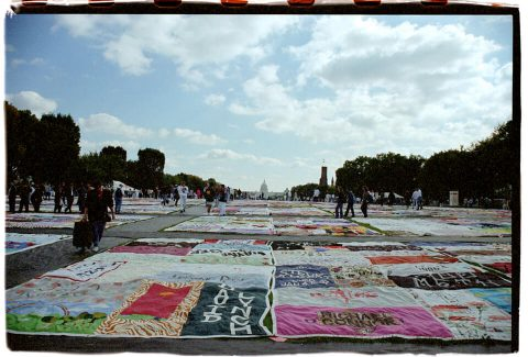 View Across the Mall, AIDS Memorial Quilt, 1996. Brent Pruitt. 35mm photograph, 1996
