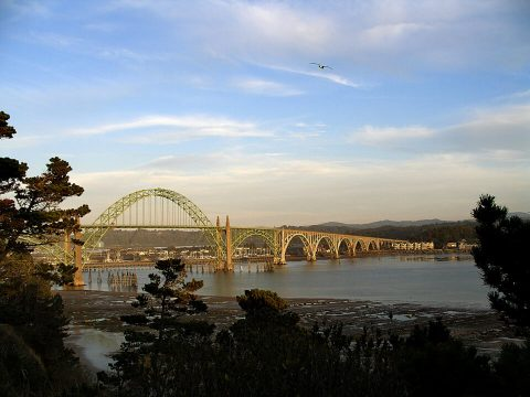 Yaquina Bay Bridge at Sunset. Brent Pruitt. Digital photograph, color, 2010